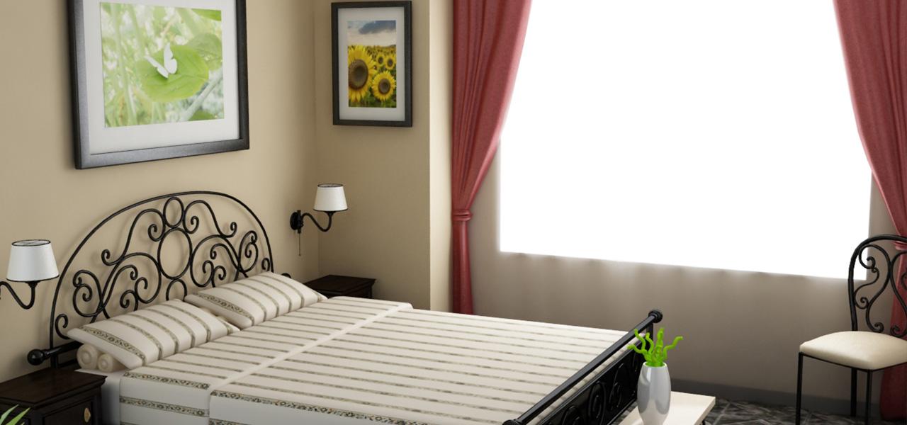 Rendering fotorealistico di una camera da letto