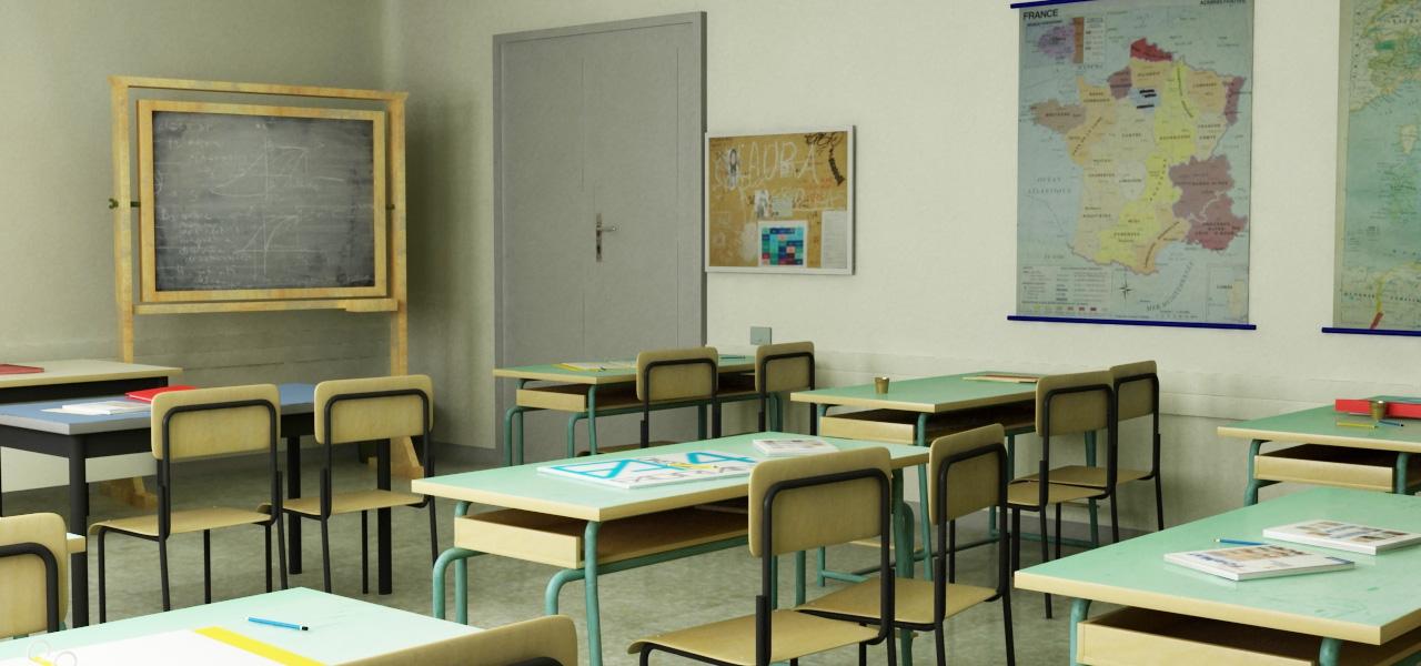 Rendering fotorealistico di una classe scolastica