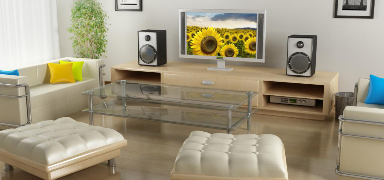 Rendering fotorealistico di un soggiorno